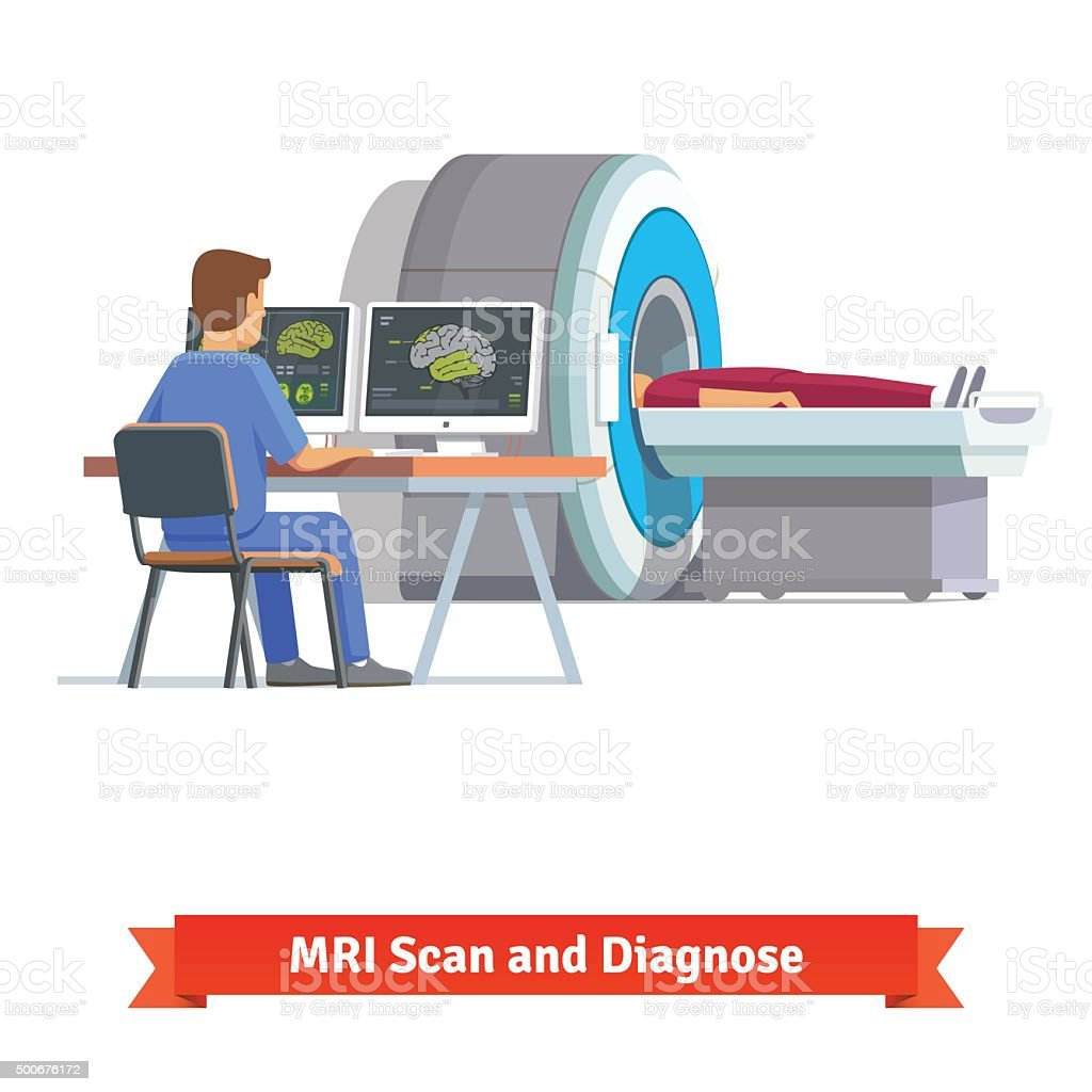 Doctor looking at results of brain scan. MRI vector art illustration