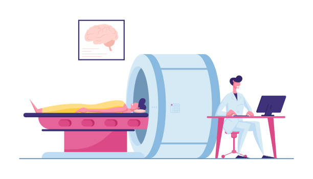 Doctor Looking at Results of Patient Brain Scan on Computer Monitor Screen in Front of Mri Machine with Man Lying Down. Health Care Check Up in Hospital, Scanning Cartoon Flat Vector Illustration Doctor Looking at Results of Patient Brain Scan on Computer Monitor Screen in Front of Mri Machine with Man Lying Down. Health Care Check Up in Hospital, Scanning Cartoon Flat Vector Illustration scientific imaging technique stock illustrations