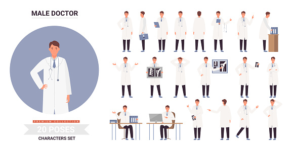Doctor male character poses set, working posture in hospital