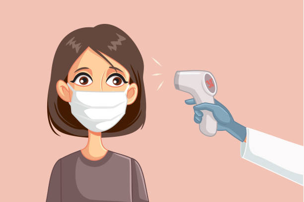 Doctor Measuring Temperature of Female Patient Wearing Surgical Mask Female patient with high fever presenting covid-19 symptoms infrared stock illustrations