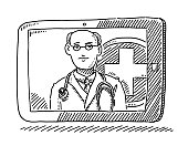 Doctor Medical Advice Tablet Computer Drawing