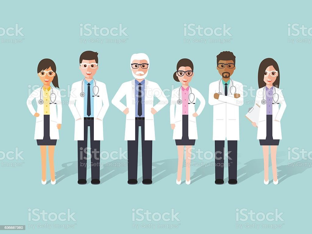 Doctor, medical and hospital staff characters. vector art illustration