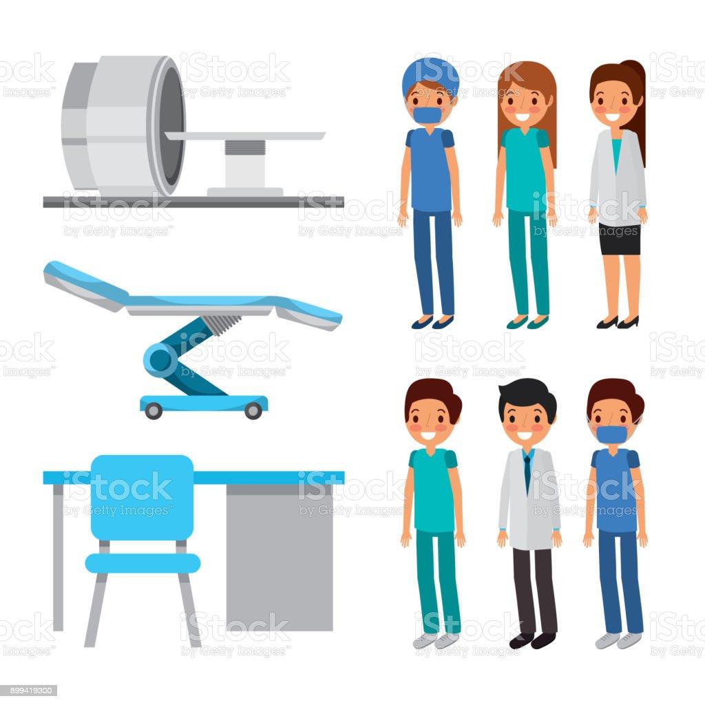 Arzt Mediziner Gesundheitswesen Geräte Möbel Stock Vektor Art und ...