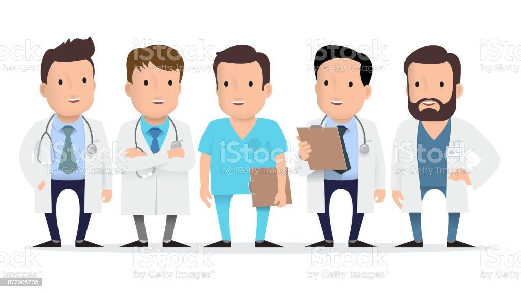 Médico, trabajadora médica, paramédico. - ilustración de arte vectorial