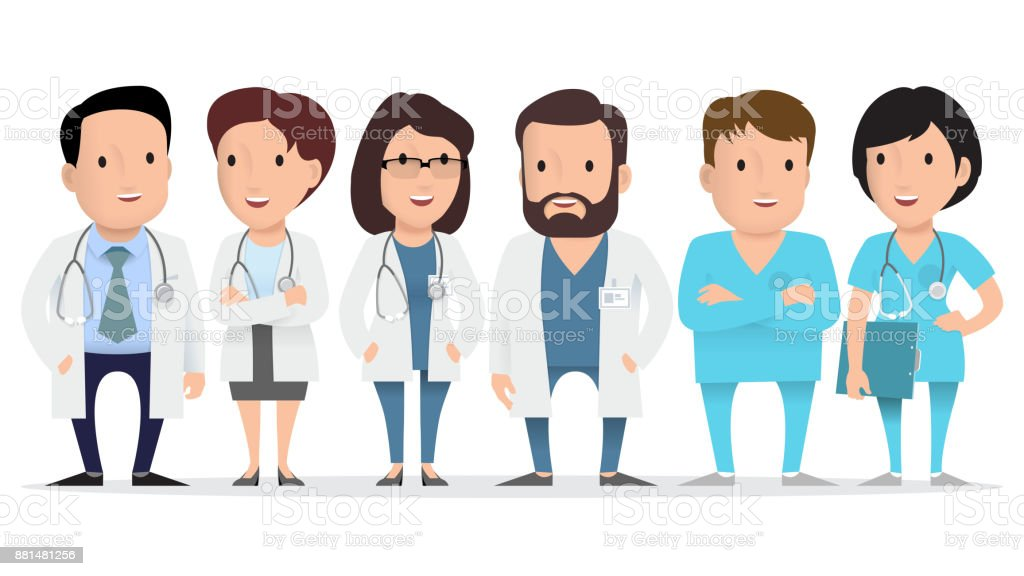 医師、医療従事者、救急救命士。 ベクターアートイラスト