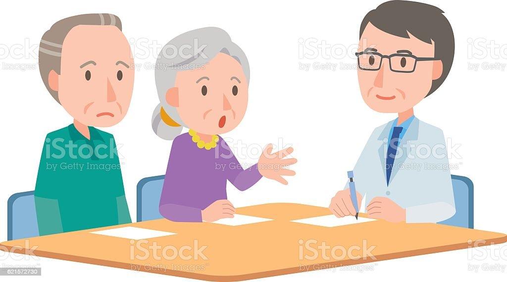 Doctor meeting couple in hospital office doctor meeting couple in hospital office – cliparts vectoriels et plus d'images de adulte libre de droits