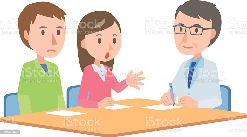 Doctor meeting couple in hospital office doctor meeting couple in hospital office – cliparts vectoriels et plus d'images de adulte libre de droits