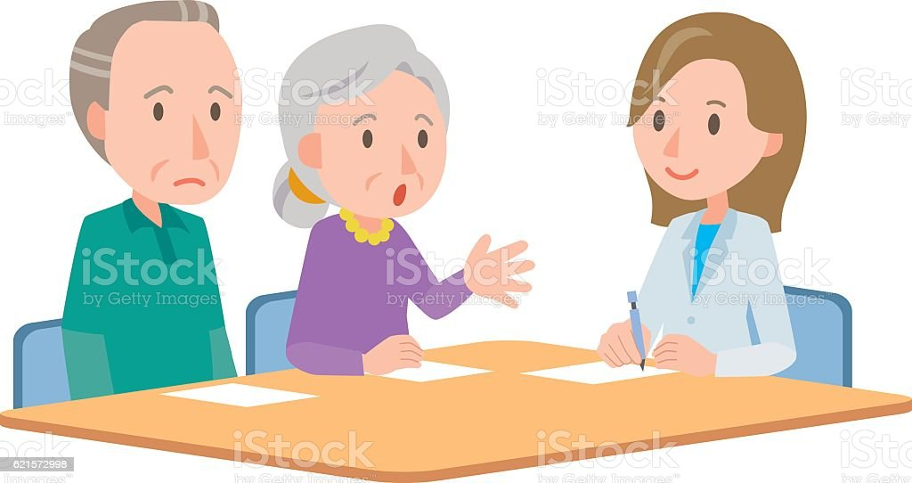 Doctor meeting couple in hospital office vector art illustration