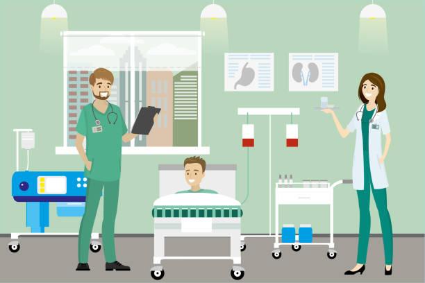 bildbanksillustrationer, clip art samt tecknat material och ikoner med läkare, sjuksköterska och kaukasiska manlig patient på sjukhus-rummet - sjukhusavdelning