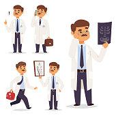 Doctor nurse character vector medical man staff flat design hospital team people doctorate illustration