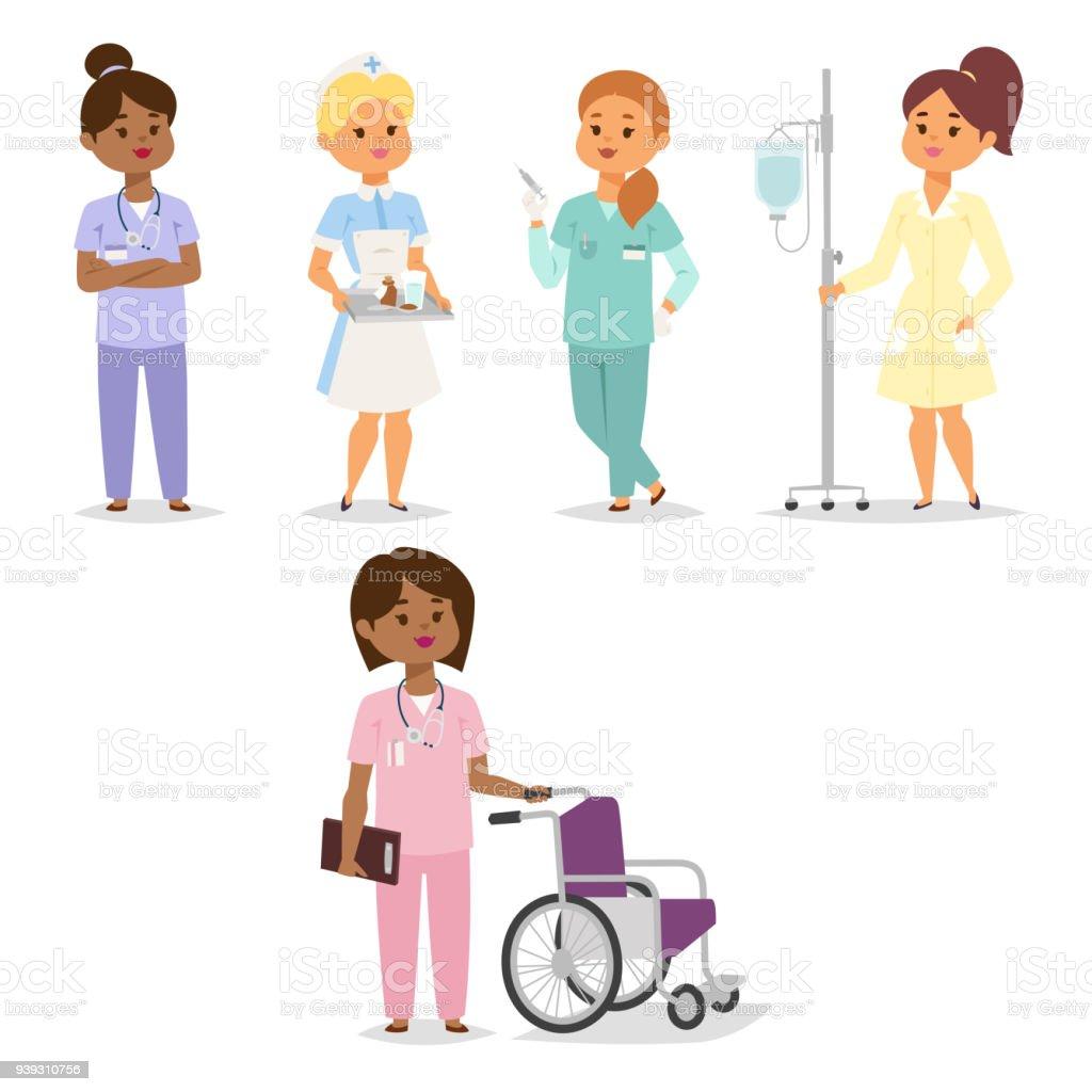 Arzt Krankenschwester Charakter medizinische Frau Personal flache Bauweise Krankenhaus Team Menschen Promotion Vektorgrafik – Vektorgrafik