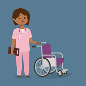 Doctor nurse character vector medical woman staff with disable wheel chair flat design hospital team people doctorate illustration doctor helper haracter. Professional cartoon medical human worker