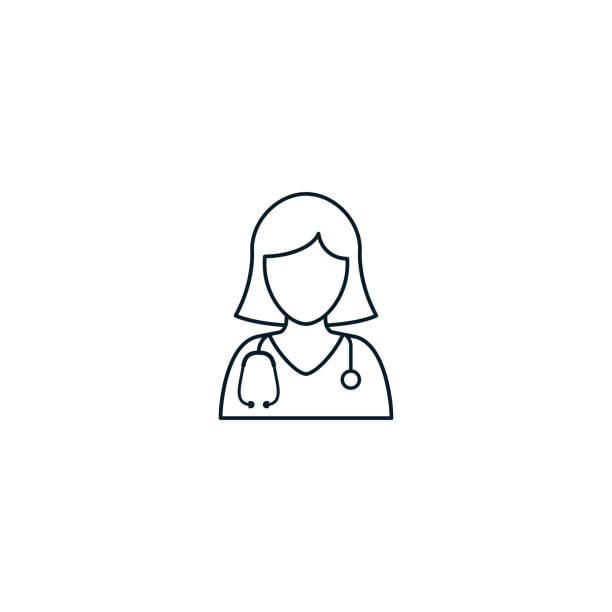 doctor nurse icon outline, vector isolated line illustration - nurses stock illustrations