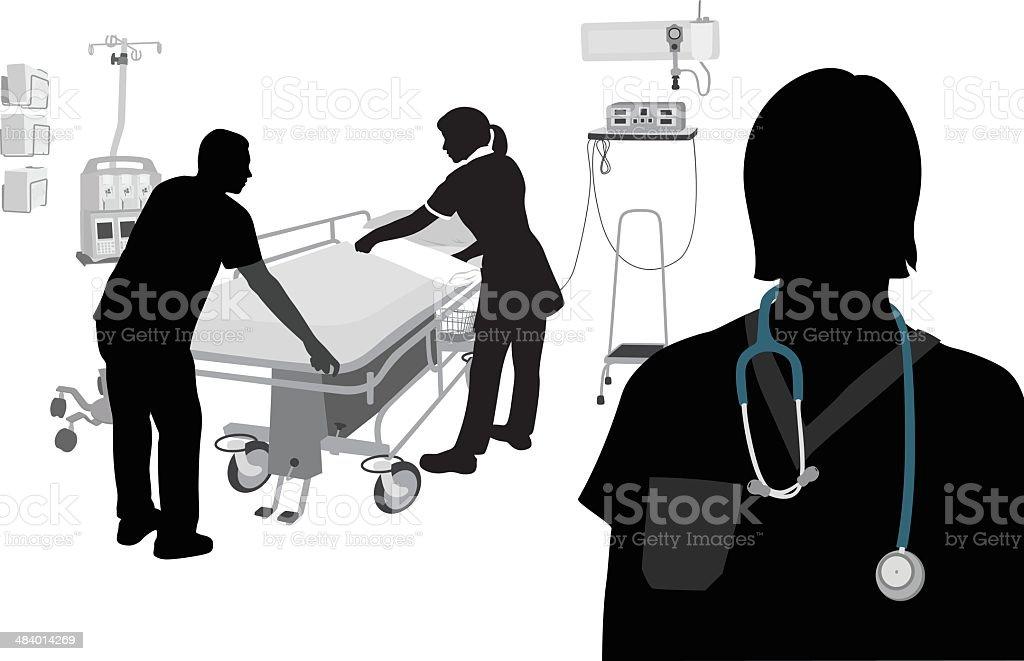 Doctor Nurse Orderly vector art illustration