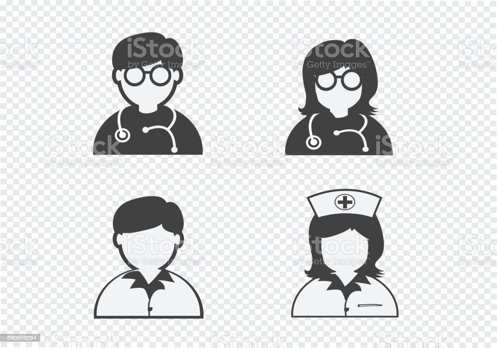 Doctor Nurse   Patient Sick Icon Sign Symbol Pictogram royalty-free doctor nurse patient sick icon sign symbol pictogram stock vector art & more images of advice