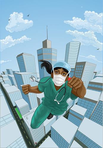 Doctor Nurse Scrubs Superhero Flying Super Hero