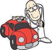 Doctor diagnosing a car. Include AI, PDF and CDR (Corel 10) files.