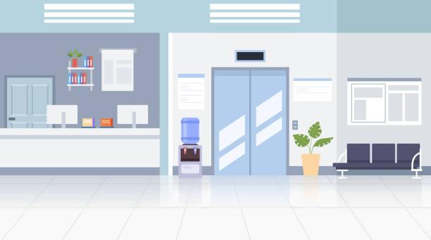 illustrations, cliparts, dessins animés et icônes de concept d'intérieur de hall de bureau de docteur. illustration de conception graphique de vecteur plat - hall d'accueil