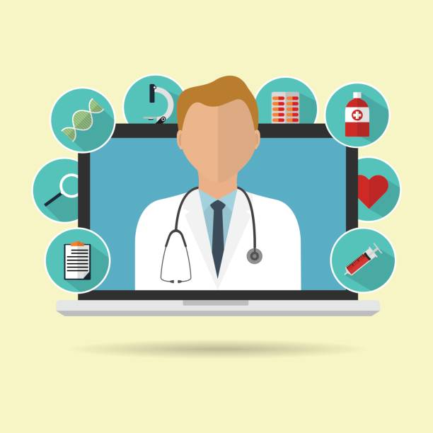 Doctor on internet online laptop for telemedicine with longs shadow medical icon. Vector illustration flat design medical healthcare concept technology trend. vector art illustration