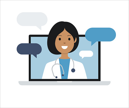 Doctor on Laptop Computer Screen. Telemedicine. Medical consultation. Vector stock illustration