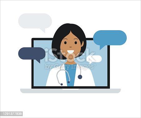 istock Doctor on Laptop Computer Screen. Telemedicine. Medical consultation. Vector stock illustration 1291377838