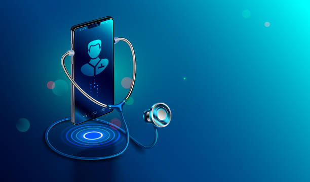 Doctor online concept. Icon Doctor through the phone screen using stethoscope checks health. Online medical clinic communication with patient. Vector isometric illustration. vector art illustration