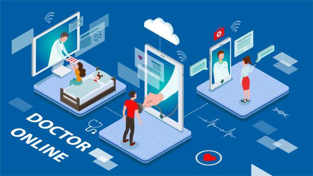 ilustraciones, imágenes clip art, dibujos animados e iconos de stock de concepto de doctor online con pacientes enfermos tratados por personal médico en pantallas interactivas virtuales en una ilustración vectorial de tonifica azul. - telehealth