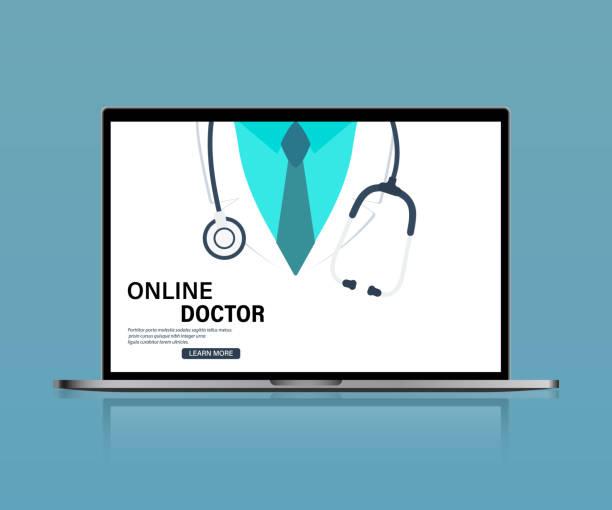ilustraciones, imágenes clip art, dibujos animados e iconos de stock de doctor en línea. servicios de salud, pregunte a un médico. consulta médica en línea en la computadora - telehealth
