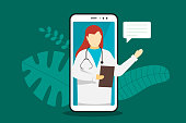 Doctor online mobile chat internet consulting. White female with stethoscope on smartphone screen and speech bubble answers question. Healthcare consultation web service. Vector e-health illustration