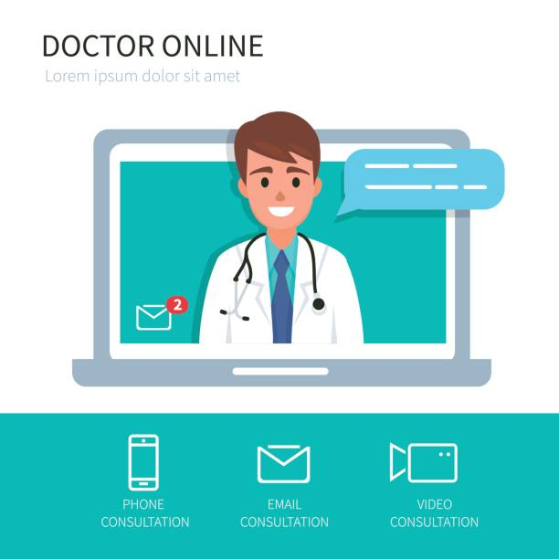 doctor online - doctors office stock illustrations, clip art, cartoons, & icons