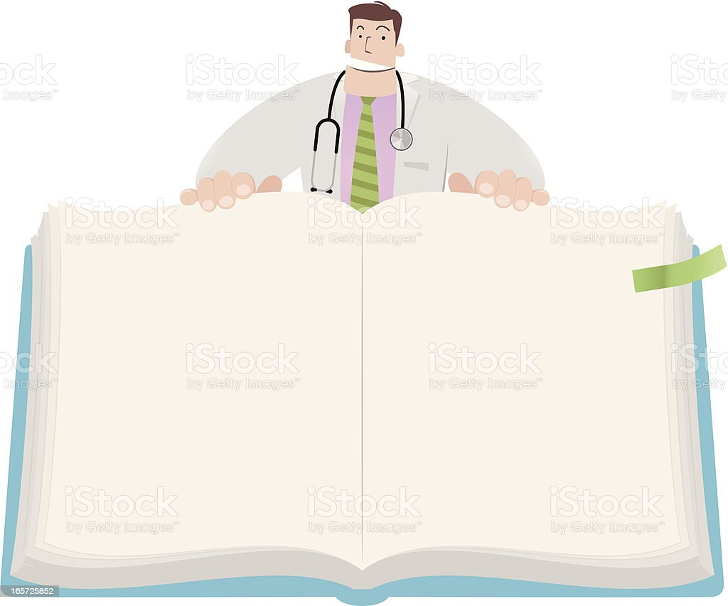 Doctor open book to show the content of health education royalty-free stock vector art