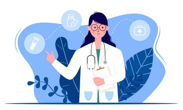 ilustrações, clipart, desenhos animados e ícones de conceito de médico ou serviço médico, conceito para aplicativo médico e sites. ilustração vetorial plana. - enfermeira