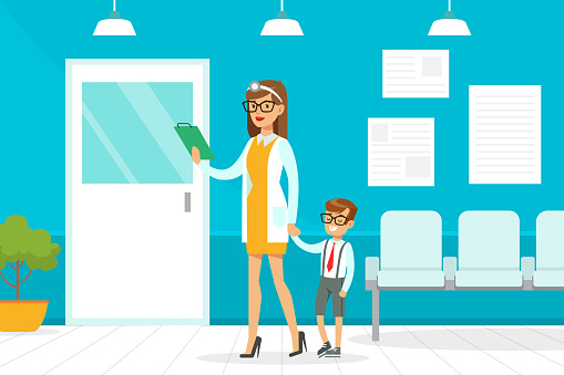 Doctor or Nurse Meeting Boy in Medical Office Call, Child Came to the Doctor, Medical Service Concept Vector Illustration