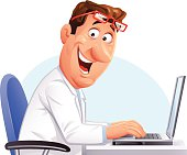 A doctor or scientist sitting at his desk working on a laptop. EPS 8, fully editable, grouped and labeled in layers.