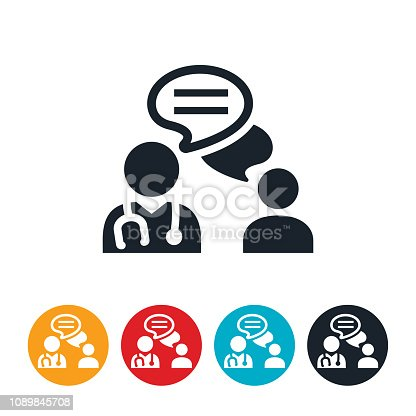 An icon of a doctor chatting with a patient via text. The icon represents telemedicine or doctor/patient communication.