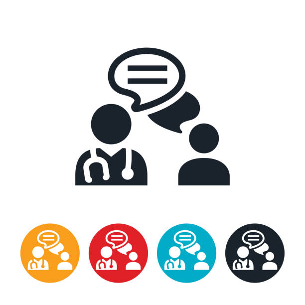 Doctor Patient Communication Icon An icon of a doctor chatting with a patient via text. The icon represents telemedicine or doctor/patient communication. doctor and patient stock illustrations