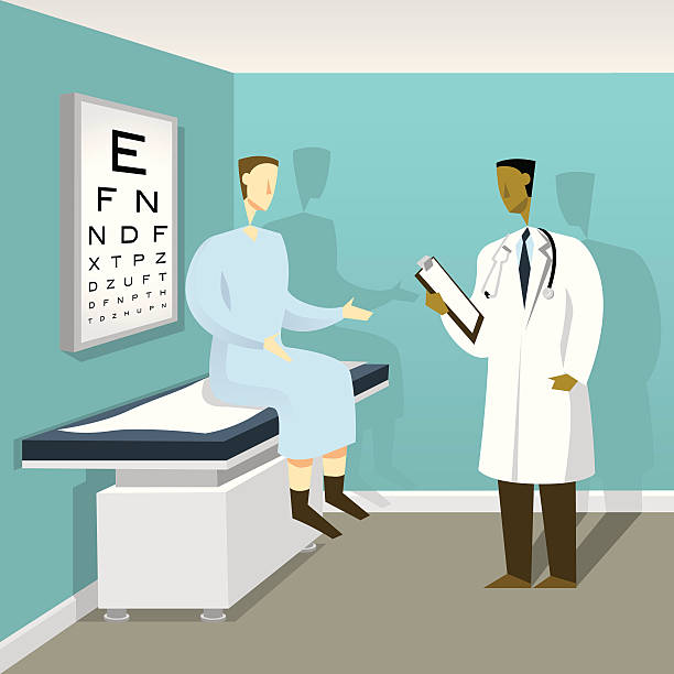 doctor patient examination - doctors office stock illustrations, clip art, cartoons, & icons