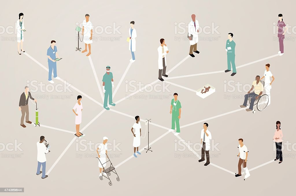 Doctor Patient Network Illustration vector art illustration