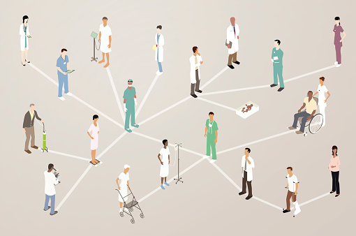Doctor Patient Network Illustration Stock Illustration - Download Image Now