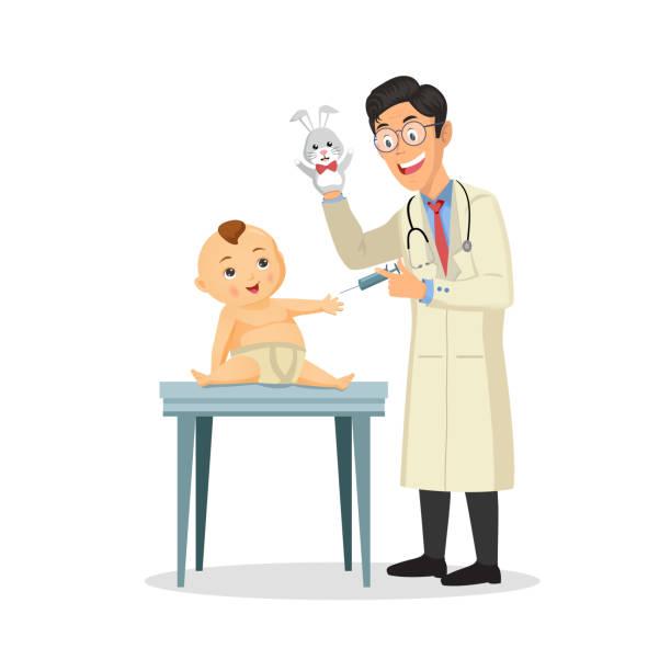 illustrations, cliparts, dessins animés et icônes de médecin pédiatre effectue une vaccination d'un petit garçon. le médecin tient un jouet. - vaccin enfant