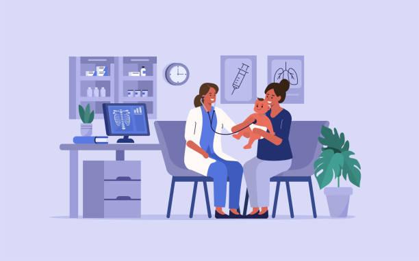 illustrations, cliparts, dessins animés et icônes de pédiatre médecin - vaccin enfant