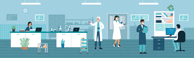 Doctor people work in medical laboratory with lab test tubes