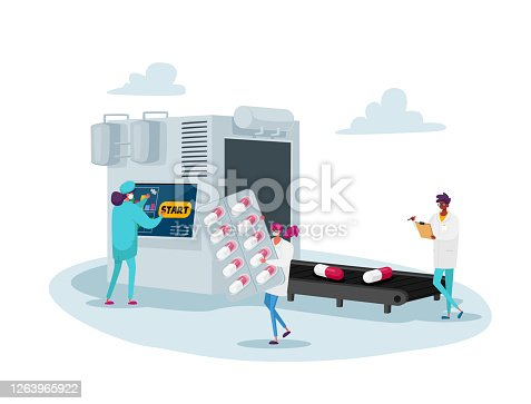 istock Doctor Pharmacist in Medical Robe Writing and Control Huge Conveyor Belt with Medicine Tablets. Pills Producing Industry 1263965922
