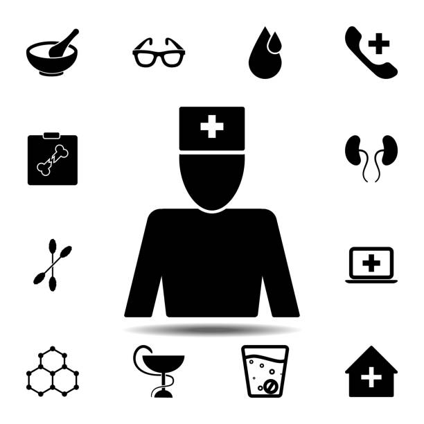 doctor, physician, doc, medico icon. Simple glyph vector element of Medecine set icons for UI and UX, website or mobile application doctor, physician, doc, medico icon. Simple glyph vector element of Medecine set icons for UI and UX, website or mobile application on white background medico stock illustrations
