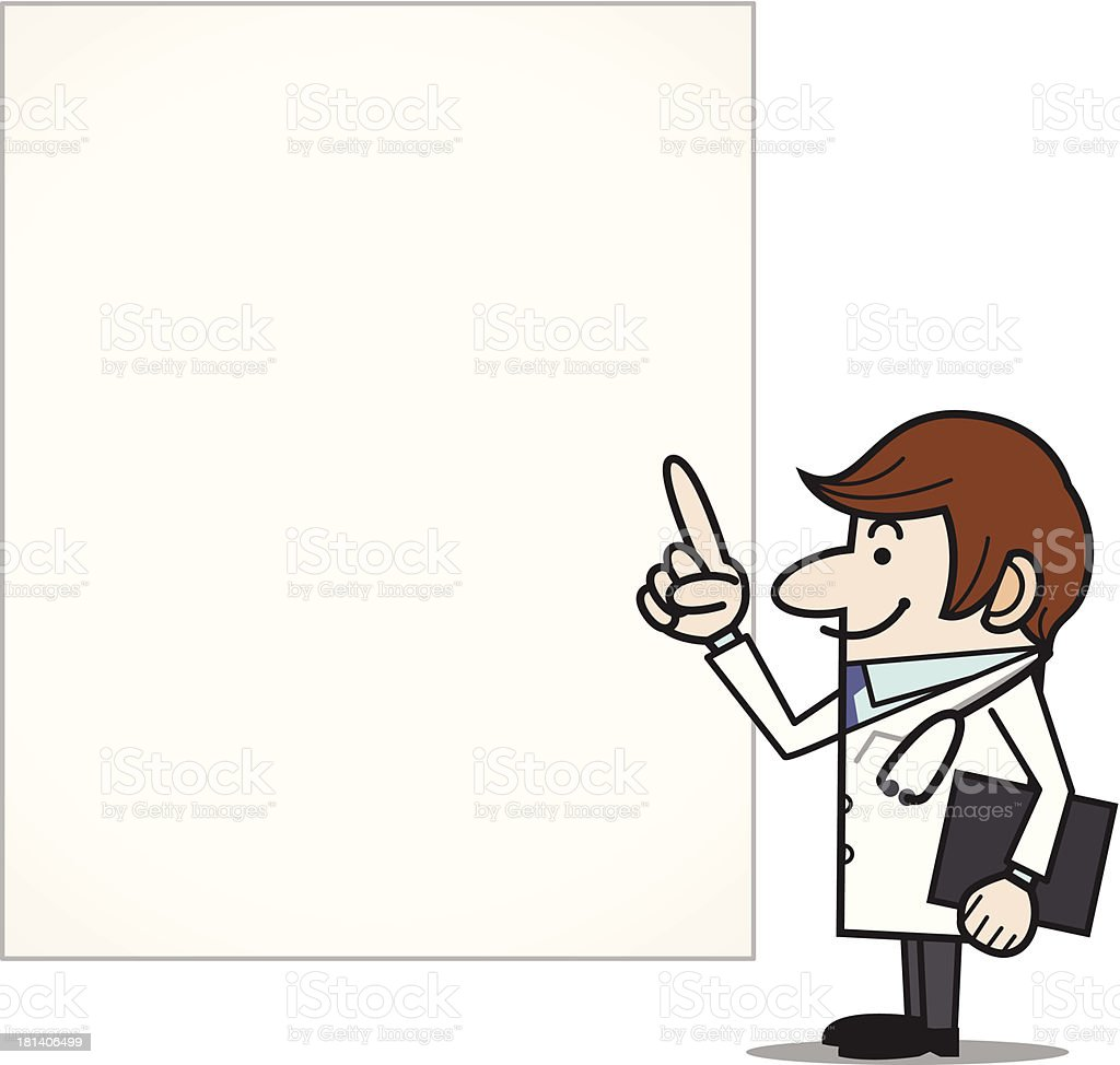 Doctor pointing to a blank sign royalty-free stock vector art