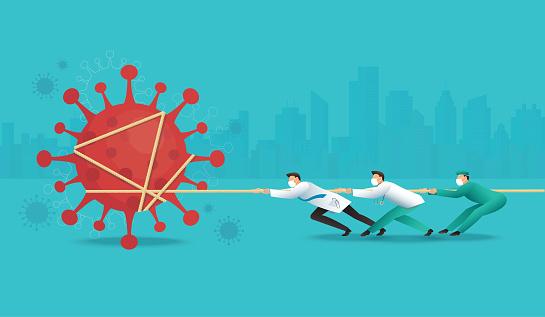 doctor pull the rope against Coronavirus Covid-19 vector illustration EPS10