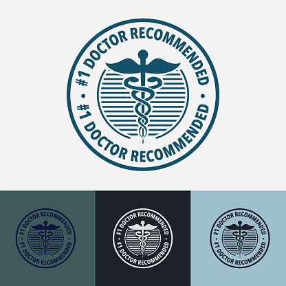 Medical badge with Number 1 Doctor Recommended text. 4 different colour style. All elements are on different layers.