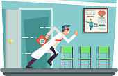 Doctor running out consulting room door hurry medical clinic cartoon character flat design vector illustration