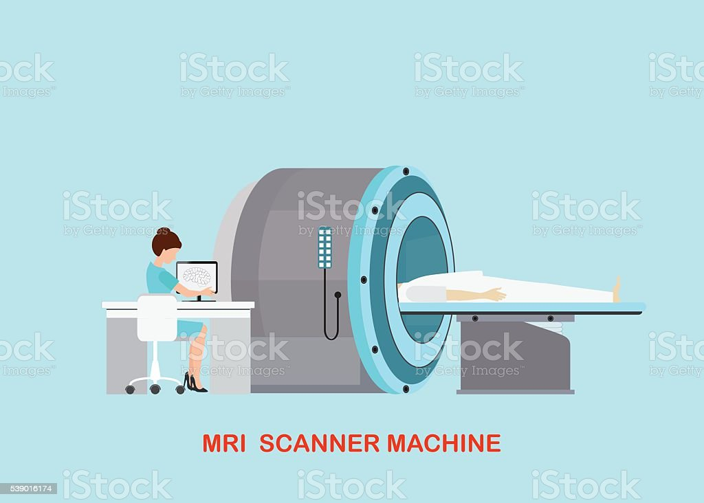 Doctor scanning mri patient with MRI scanner machine technology . vector art illustration