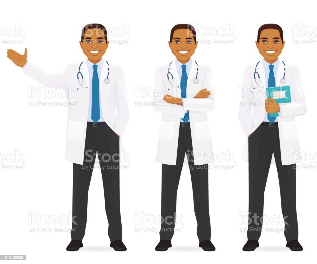Médico conjunto negro - ilustración de arte vectorial